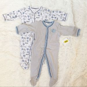 Starting out set of 2 baby boy footed one-piece 6M